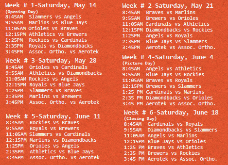 2016 Spring Game Schedule